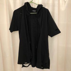 Ripped Style short sleeve zip up hoodie.